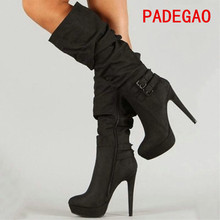 PADEGAO 2017Fashion Women Boots Mid Calf Black Woman Boots Warm Party sexy Waterproof 12 5cm Hee
