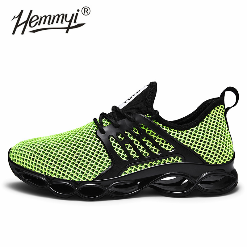 Hemmyi Large Hole Mesh Size 39-47 Mesh Breathable Running Shoes Summer Outdoor Non-slip Cushioning Sports Shoes Men Sneakers