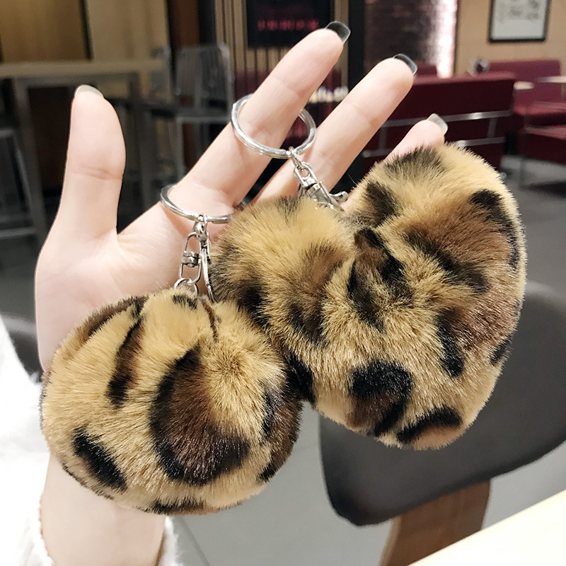 New 8cm Cute Cartoon Cute Fur Leopard Ball Keychain Bag Pendant Key Ring Holder Rabbit Wool Handbag Charm