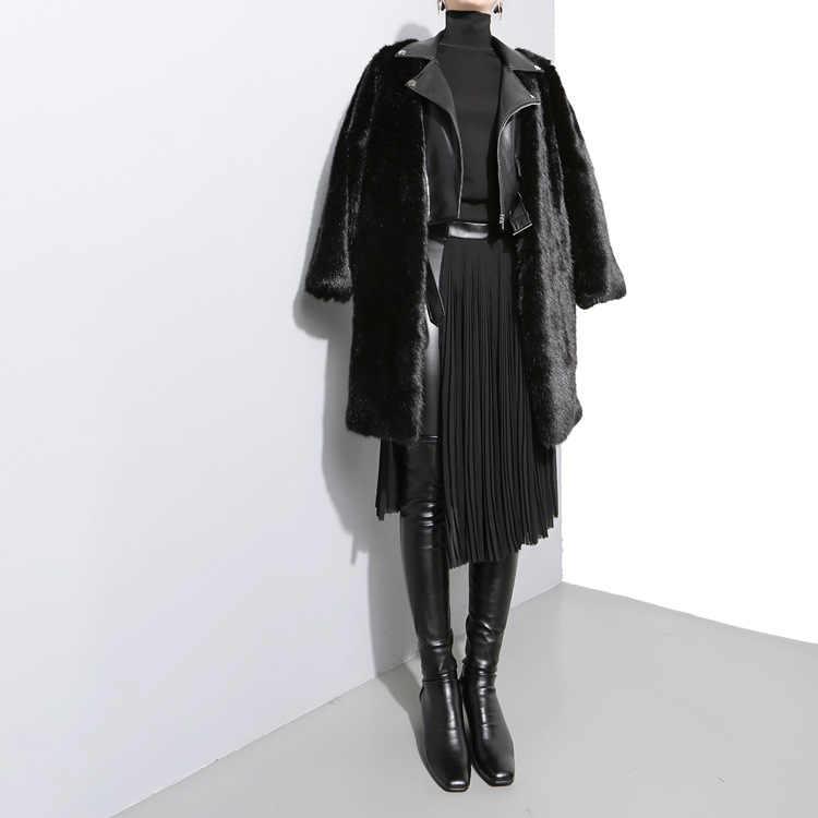 新和風女性ソリッドブラックシフォンプリーツスカート調節可能な革ベルトハイウエストスプリット女の子ミディカジュアルスカート876