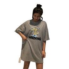 EDENCOMER 2019 Summer Clothing New Leopard Head T-shirt Women Short-sleeved Casual 100% Cotton Tops