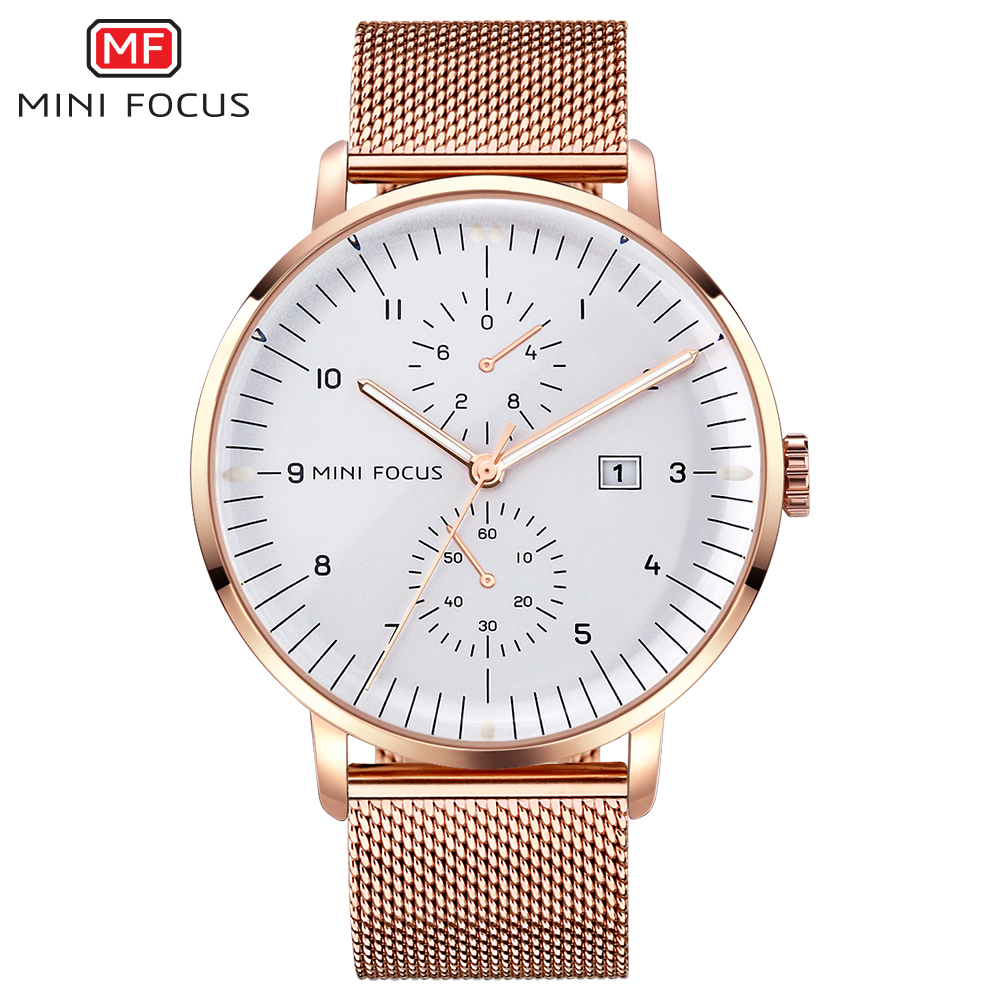 MINIFOCUS Top Brand Fashion Luxury Men Watch Stainless Steel Quart Wristwatch Big Dial Rose Gold Silver Black Watches For Male burei man watch rose gold quartz wristwatches top stainless steel clocks male luxury black dial day and date watches for men