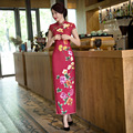 2017 Chinese Traditional Long Dress Evening Dress Red Qipao Plus Size Vintage Summer Short Sleeve Wedding Cheongsam for Women
