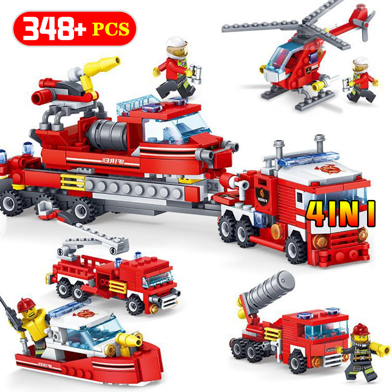 348PCS Fire Fighting Car Helicopter Boat Building Blocks Compatible Legoingly City Firefighter Figure Bricks Toys For Kids Gifts fire station parts helicopter trucks car building blocks bricks compatible legoe city firefighter figures toys for children kids