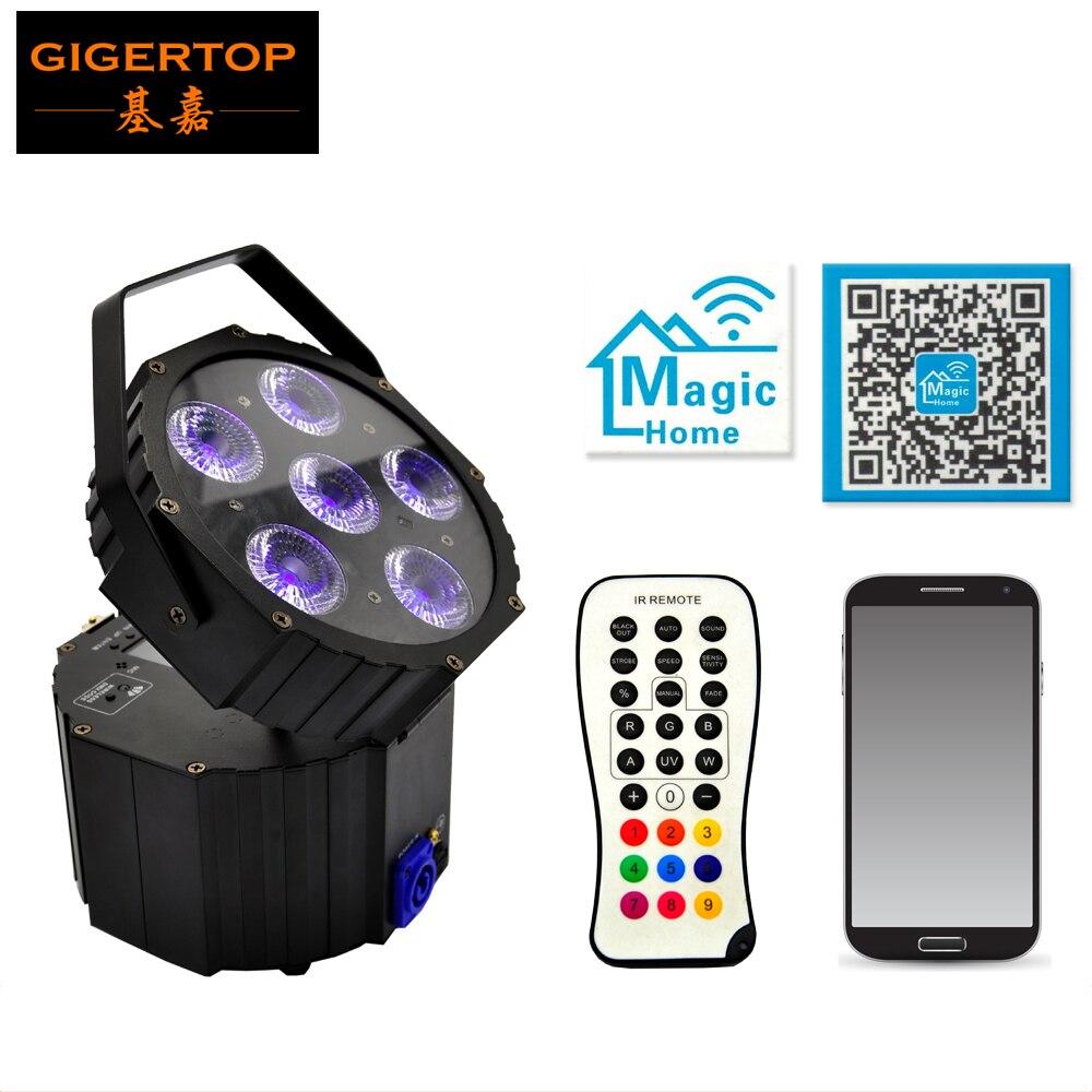 Freeshipping TP-G3036-6IN1 Fancy Smart Wireless Battery Power 6X18W Rgbaw Uv 6in1 Led Flat Par Can Uplight For Sale Mini Size