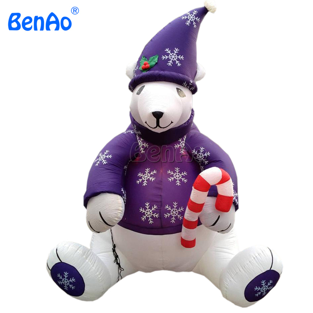 x175 outdoor 13ft xmas inflatable sitting polar bear in nice cloth for decoration with a cane - Polar Bear Inflatable Christmas Decorations