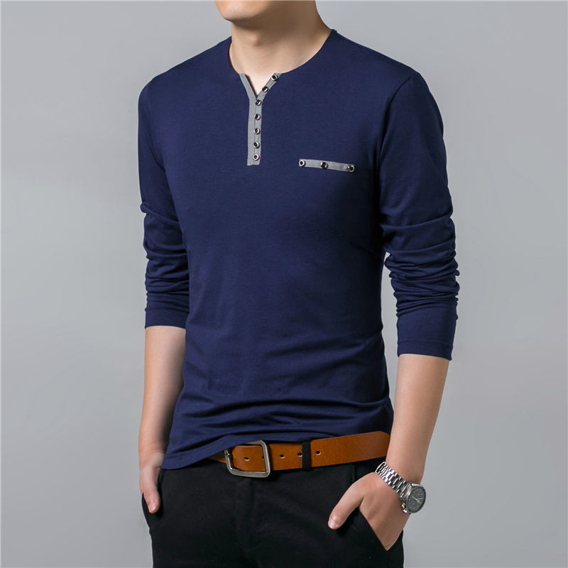 HTB12qLMFVuWBuNjSszbq6AS7FXa1 - COODRONY Cotton T Shirt Men 2018 Spring Autumn New Long Sleeve T-Shirt Men Henry Collar Tee Shirt Men Fashion Casual Tops 7617