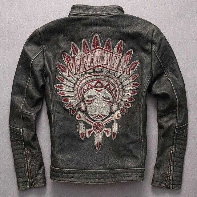 Homens jaqueta de couro genuíno do vintage Indiano padrão