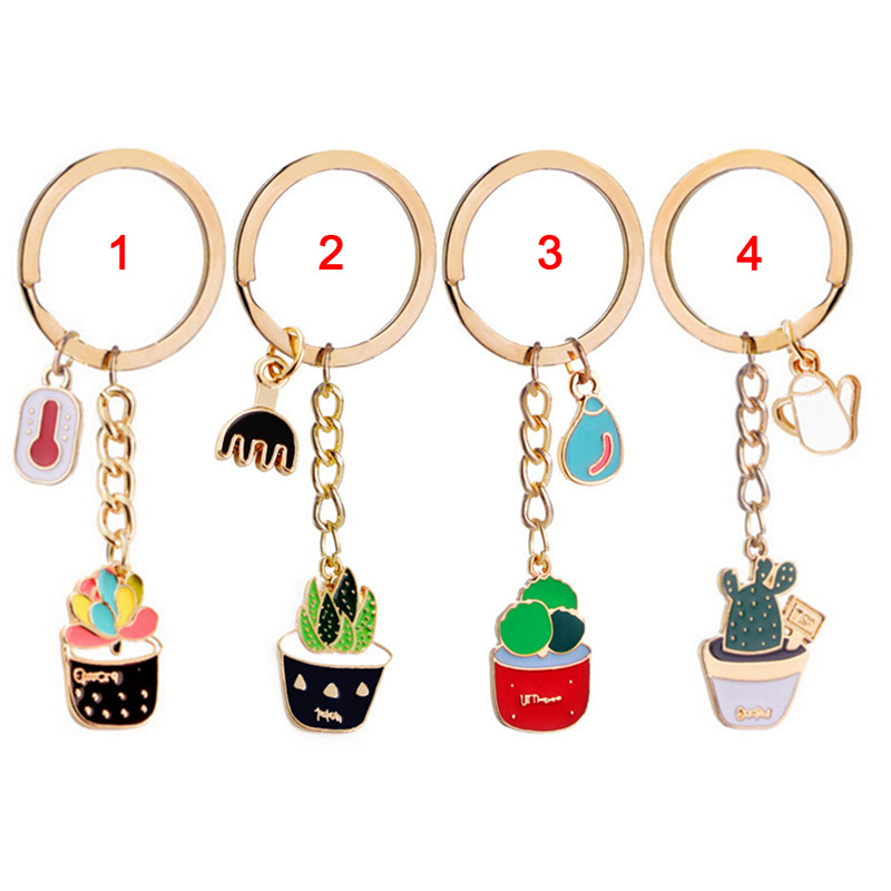 Cactus Keychains Potted Plant Pattern Key Ring Purse Key Chain Pendant