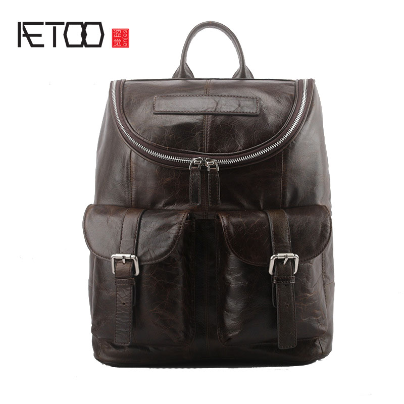 AETOO New trend leather men bag street fashion large capacity first layer oil wax leather shoulder bag aetoo leather men bag wild european and american first layer of leather men s shoulder bag trend backpack