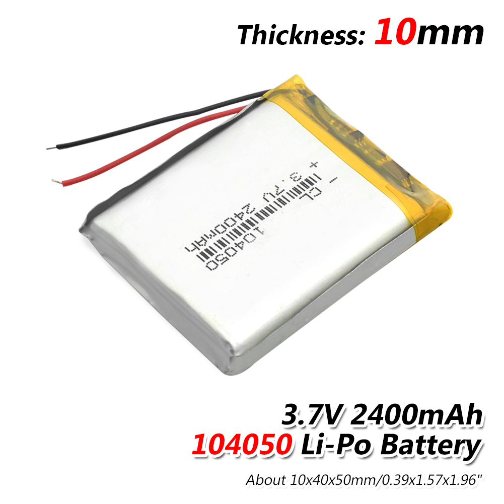 1/2/4 Pieces 3.7 V Volt 2400mah Rechargeable Battery 104050 Li-ion Polymer Li Po Batteries For Solar Lamp Power Bank Radio GPS