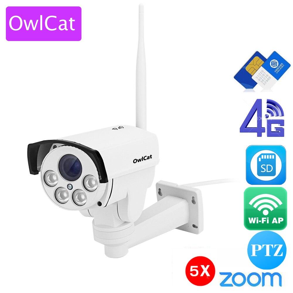 OwlCat HD 960 p 1080 p 4g SIM carte IP Caméra Wifi Bullet Extérieure PTZ 5X Zoom Pan Tilt vidéo Caméra Sans Fil Hotspot AP Mouvement