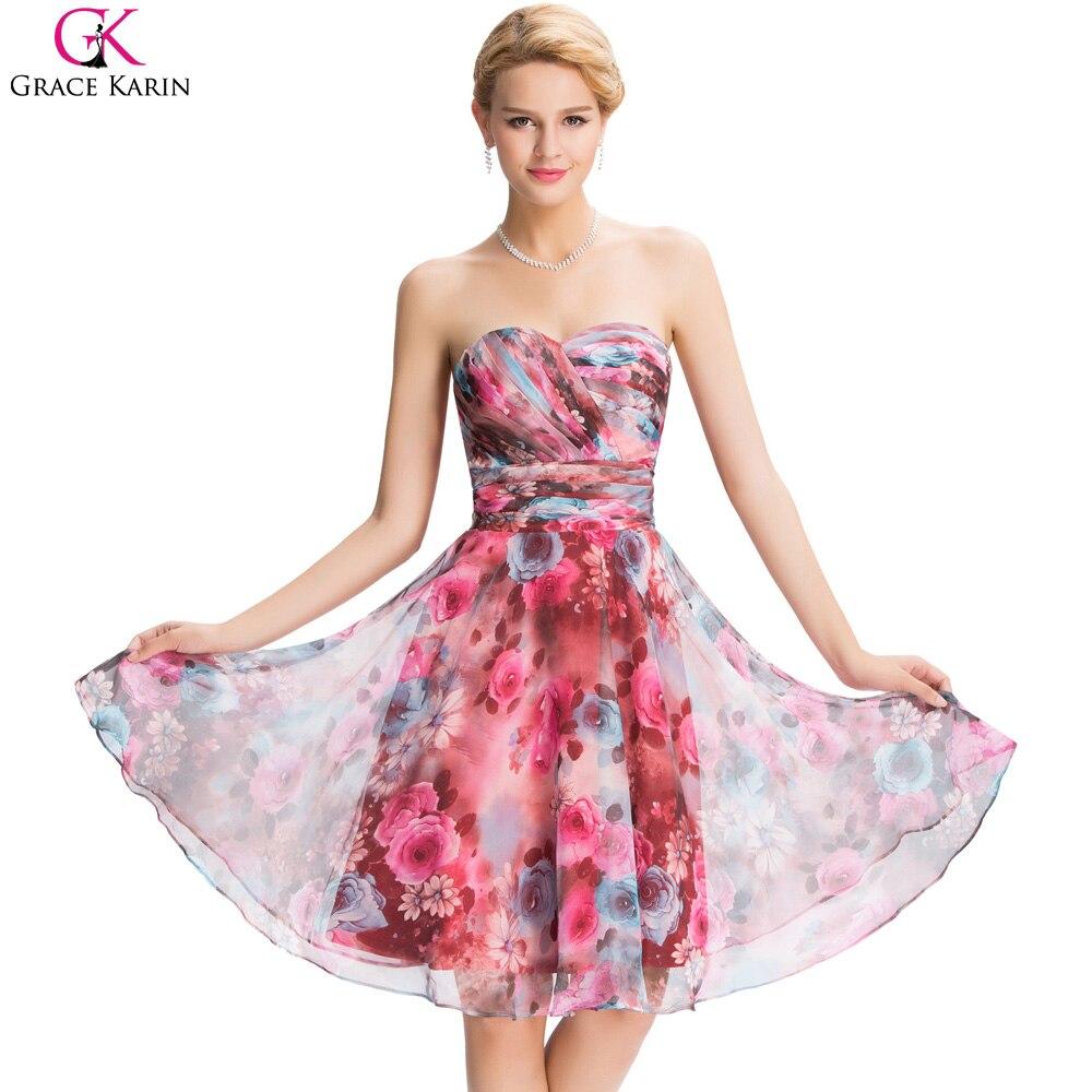 Short evening dress grace karin sweetheart flower print for Dresses for wedding party cheap