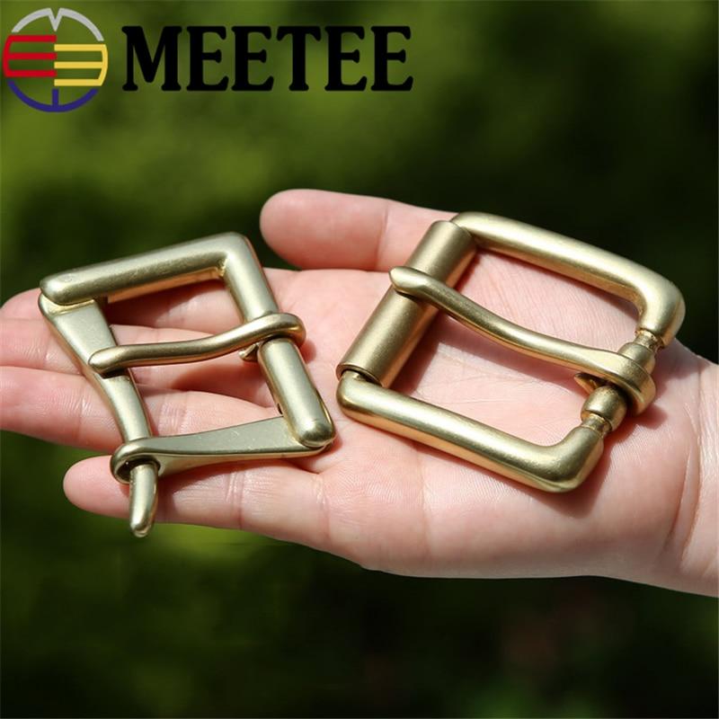 Meetee 3.9cm Wide Belt Buckle Pure Brass Pin Buckle Quick Open Men's Fire Belt Buckle Head Fit 3.6-3.8cm Belt DIY Leather Craft
