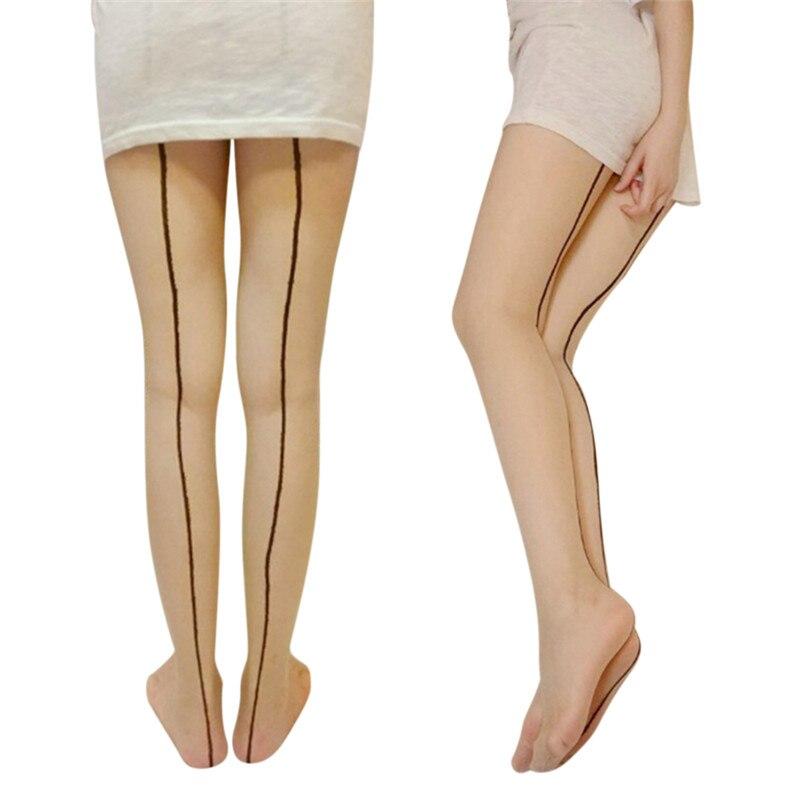 Женский черный кожи бедра Чулки ультра тонкие прозрачные колготки Для женщин задний шов сексуальные чулки
