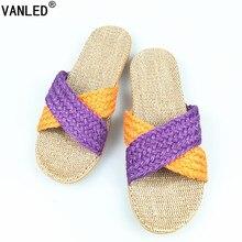 Vanled летние домашние льняные Нескользящие дышащие тапочки женщин перевязью Крытый  Пол подарок для девочек пляжные шлепанцы Тапочки обувь