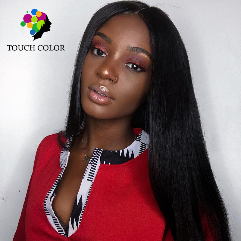 Touch Color Hair Brazilian Straight Hair Remy Human Hair 13*6 Lace Front Wigs Natural Color 100% 8 26'' Swiss Lace 130% Density