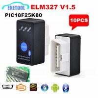 10 pçs/lote 100% PIC18F25K80 V1.5 ELM327 Leitor de Código De Interface Sem Fio Bluetooth Telefone Inteligente Android Torque ELM 327 Ferramenta