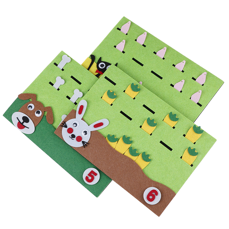 Felt Cartoon Card Early Teaching Kids By Hands Study Math The Numbers Add And Subtract Felt Craft Math Toys For Children