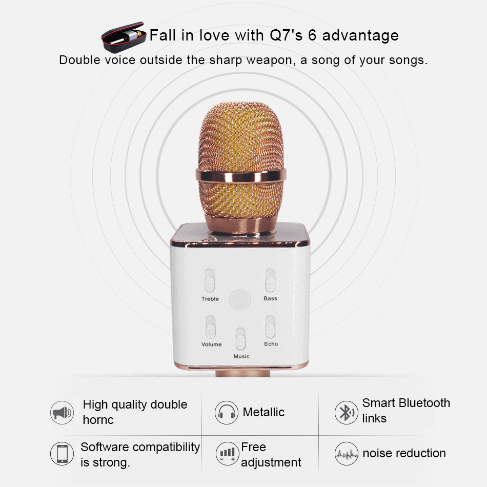 Original KEXU Q7 04 Bluetooth Karaoke Microphone Wireless Professional  Player speaker With Carring Case For Iphone Android