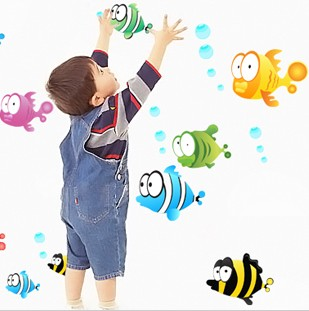 Bubble fish sanguan wall stickers child real baby sticker