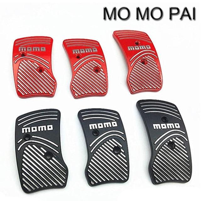 New hot Momo  Style Aluminium Non Slip Sport Pedal Brake Pad Covers Manual Car 2016 black/red