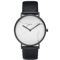 Marble Simple Business Mens Watches Top Brand Luxury Black Leather Watch Strap Quartz Thin Mens Watches