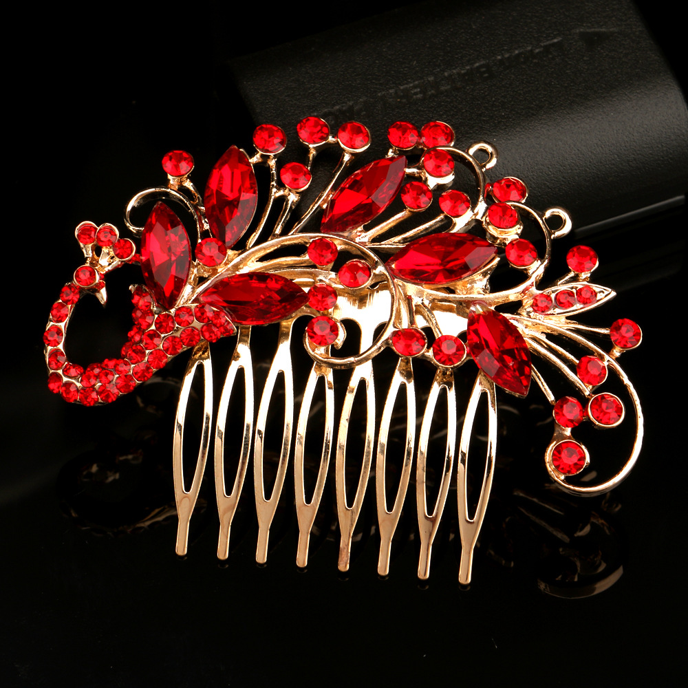 us $2.79 30% off|treazy vintage bridal hair combs wedding hair accessories red crystal hair clips peacock style wedding hair jewelry-in hair jewelry