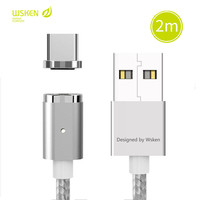 WSKEN 2M Magnetic Type C USB Data Cable Fast Charging Charger Braided Led Cable For Samsung