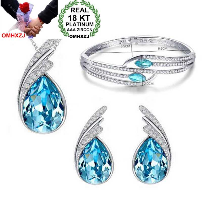 OMHXZJ Wholesale Woman Elegant Leaves AAA Zircon Crystal 18KT Platinum Silver Necklace Earrings Bracelets Jewelry Sets  ST03