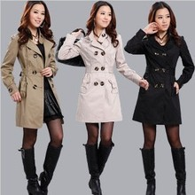 NEW HOT! WOMENS SLIM FIT LONG STYLE TRENCH DOUBLE BREASTED COAT