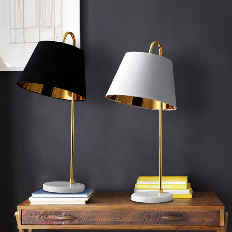 Us 128 8 Modern Minimalist Plating Gold Wrought Iron Table Lamp Nordic Creative Black Cloth Bedroom Bedside Decoration Led E27 Lighting In