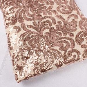 Image 5 - Блестящая розовая Золотая стрейчевая ткань с блестками и вышивкой, эластичная кружевная ткань для свадебного платья вечерние, мероприятия, ширина 50 дюймов, 1 ярд