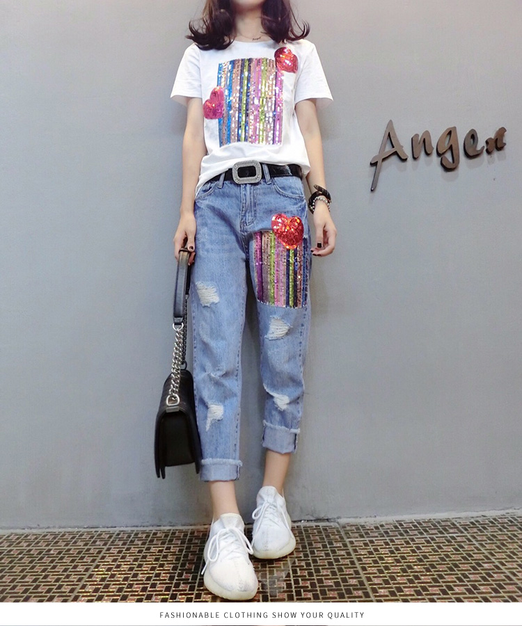 Summer Two Piece Sets Women Plus Size Short Sleeve Sequins Tshirts And Denim Ripped Jeans Sets Suits Casual Women's Sets M-5xl 40