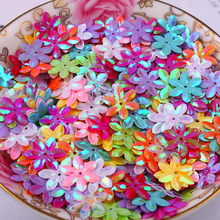 Fashion 500pcs 12mm cup six petals flower Mixed color sequins Jewelry Accessories cloth crafts confetti clothing