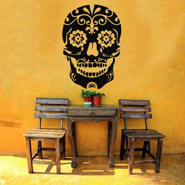 Skull Vinyl Wall Decal Halloween Sugar Skull Death Grim Mural Art ...