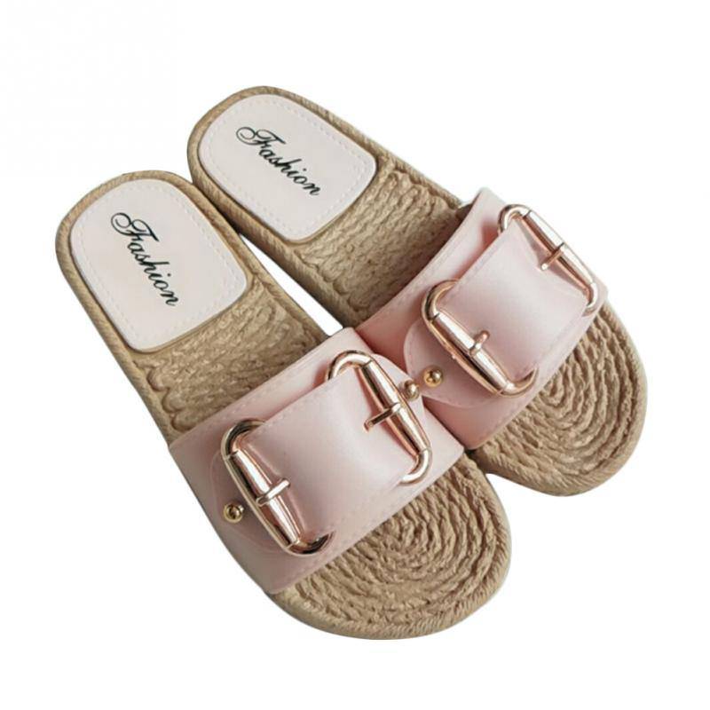 Fashion Flax Buckle Home Slippers Women Indoor Shoes Ladies Outdoor Mules Slippers Summer Beach Sandals Slides Zapatos Mujer 4