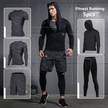 купить Vansydical Sports Suits Mens Gym Running Suit Fitness Tracksuit Running Sets Compression Tights Workout Sportswear Jogging Suit онлайн