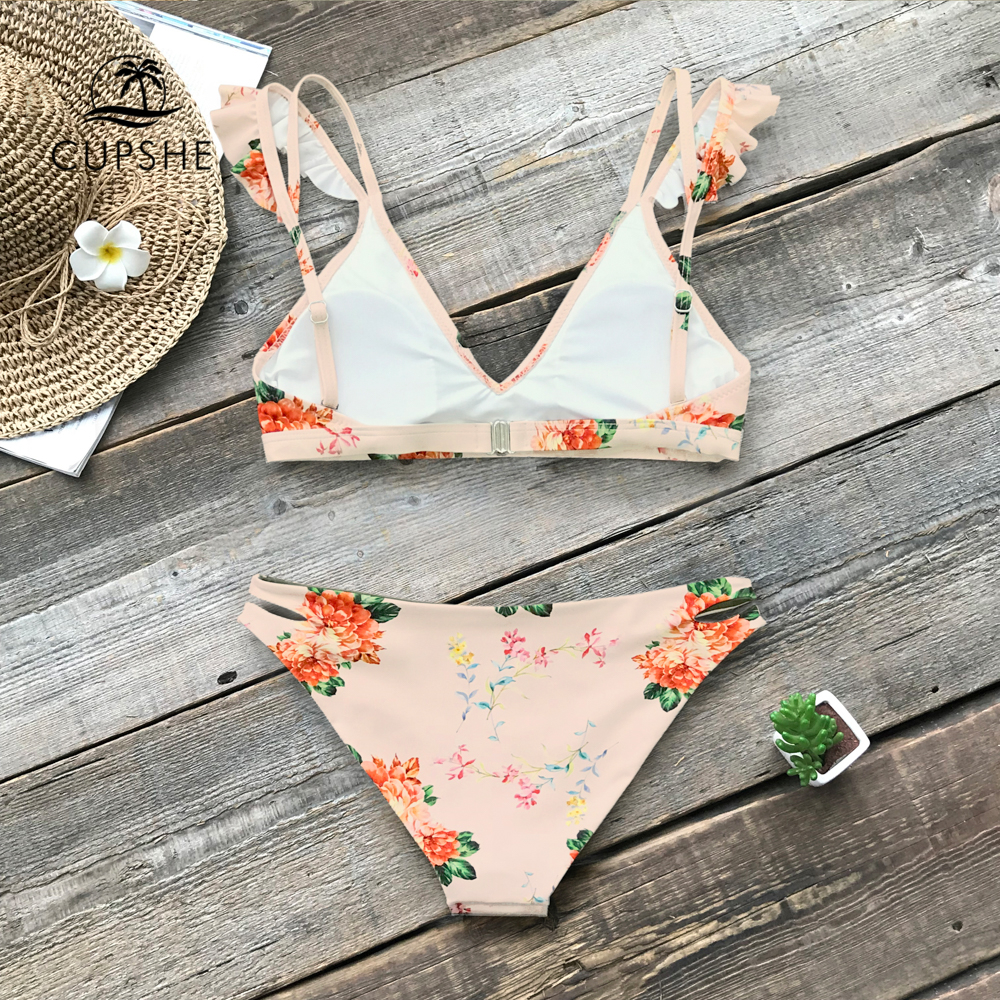 CUPSHE Floral Print Ruffle Reversible Bikini Sets Women Sexy Thong Two Pieces Swimsuits 2020 Girl Beach Bathing Suits 2