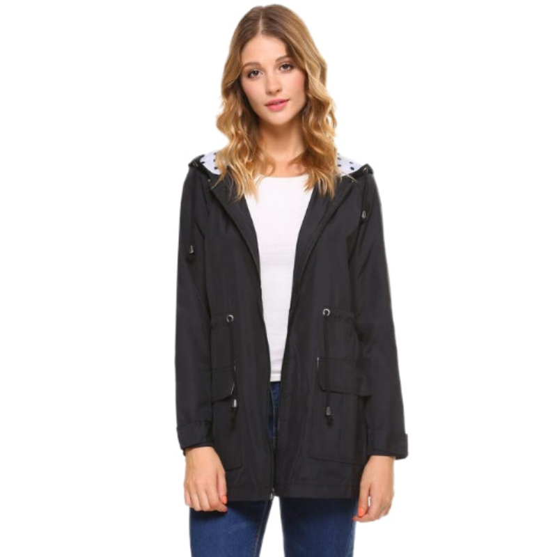 Waterproof Active Outdoor Hooded Raincoat for Women Double-layer Windproof Pattern Waist Zipper   Trench   Lightweight