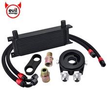 evil energy 13Row AN10 Engine Transmission Oil Cooler Kit+Oil Adapter Filter+1M/1.2M Swivel Hose Line+Seprator Divider Clamp цена и фото