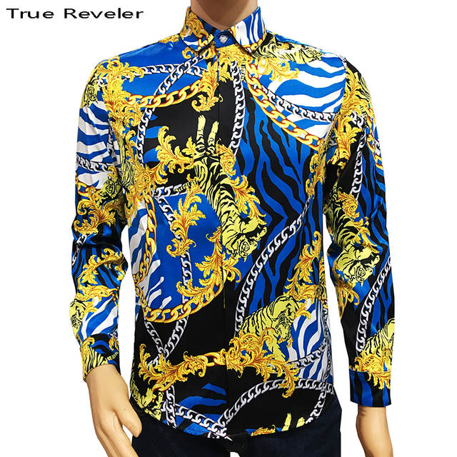 12c4e7fb7 True Reveler brand clothes blind for love shirts men long sleeve Bengal  tiger shirts hip hop party club tops business blouse-in Casual Shirts from  Men's ...