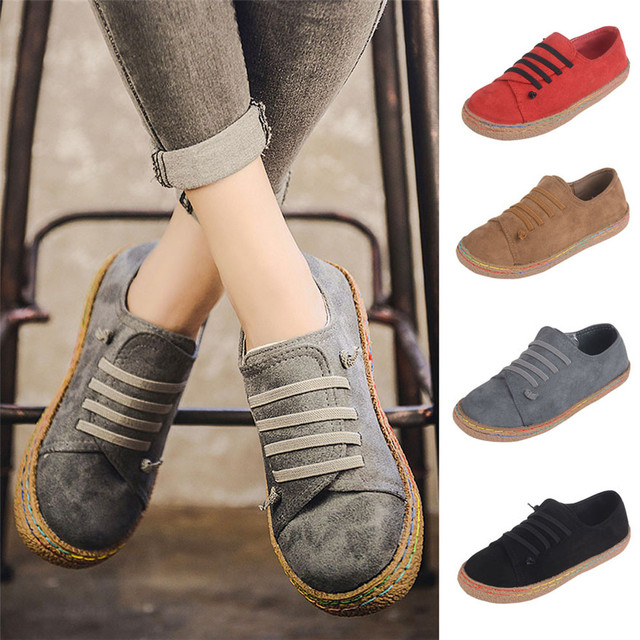 Women Ladies Soft Flat Ankle Single Shoes Female Suede Leather Breathable Lightweight Soft Lace-Up Boots zapatos mujer