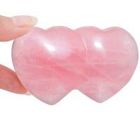 SUNYIK Natural Rose Quartz Carved Double Heart LOVE Palm Worry Stone Healing Reiki Balancing 2.7''