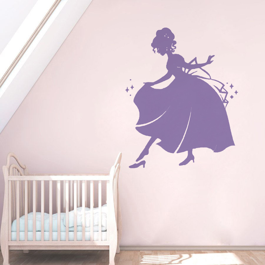 Princess Girl Wall Sticker Beautiful Decal Nursery Girls Room Decor Vinyl Art Mural Cute AY1200