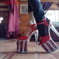 8 zoll plattform rote rose Kristall sandalen mode weiß blumen für hochzeit schuhe 20 cm pol tanzen high heels star kleid schuhe