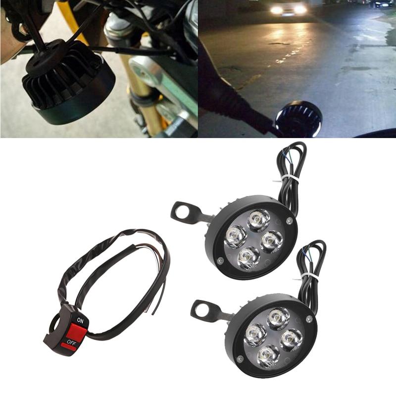 1 Pair Universal DC 12-60V LED Motorcycle Fog Light Spotlight Lamp With Switch lvsun universal dc