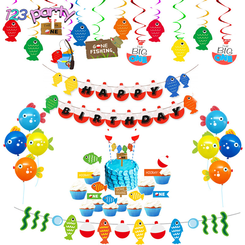 Gone Fishing Banner for Birthday Party or Home Decor