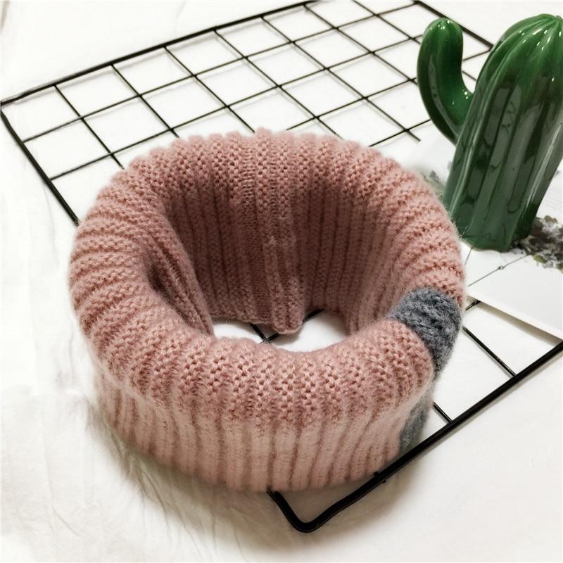 VISROVER/вязаный шарф для девочек и мальчиков, детское кольцо с полосками, безграничный снуд, Детские кашемировые шарфы, Круглый теплый шарф на шею