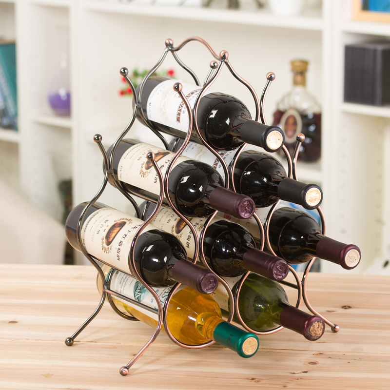 wrought wine display with wood console racks wholesale top iron metal wdb rack